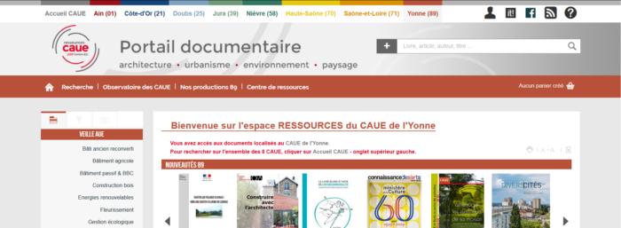 Page d'accueil de l'espace ressources du CAUE de l'Yonne